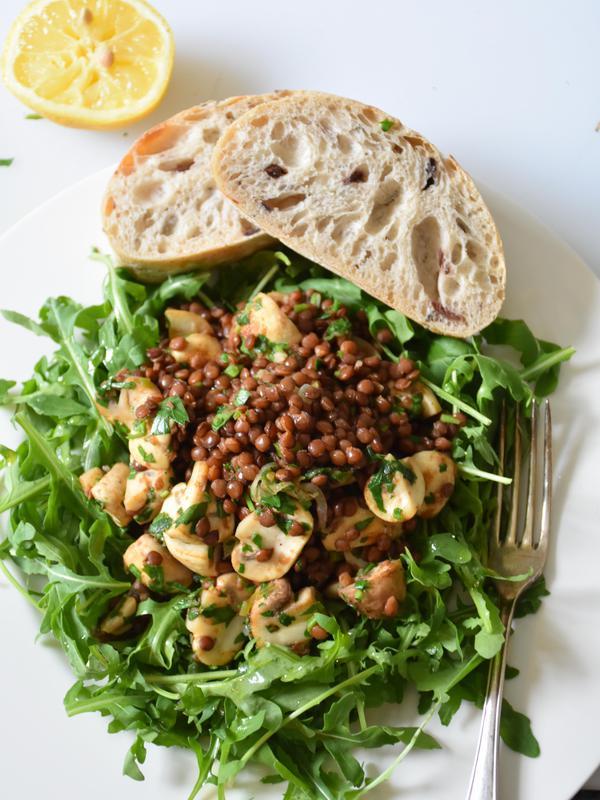 champignon linsen salat kochen kochen rezepte salate. Black Bedroom Furniture Sets. Home Design Ideas